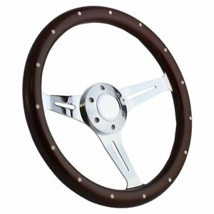 Ford Cars And Trucks 14 Steering Wheel Mahogany Chrome With Billet Horn