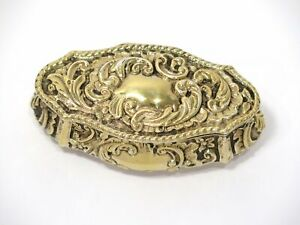 4 3 8 In Sterling Silver Gilt Antique English Floral Scroll Snuff Box