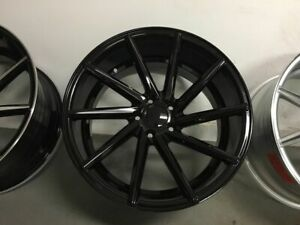 Four 20 Gloss Black Swirl Style Rims Fits Staggered Honda Civic Accord 5x114