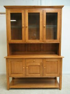 Ethan Allen Country Color China Cabinet Hutch Breakfront Display Cupboard