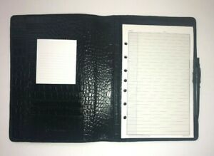 Franklin Covey Classic Black Embossed Alligator Leather Folio notebook Cover New
