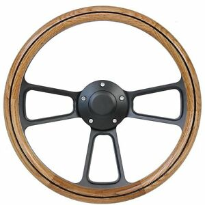 Hot Rod Rat Rod Steet Rod Classic Real Oak Black Billet Steering Wheel Horn