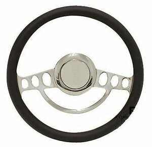 Billet Black Steering Wheel 14 For Flaming River Ididit Steering Column