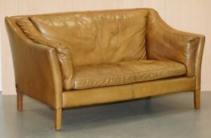 Rrp 1889 Halo Reggio Tan Brown Leather Two Seater Sofa 150cm Wide Perfect Fit