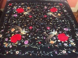 Antique Silk Chinese Embroidered Piano Shawl Black Bird Of Paradise Pheasant