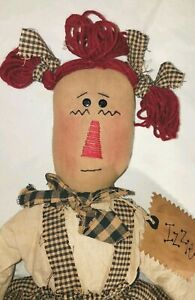 Primitive Country Fabric Doll 20 Tall Izzie Country Farmhouse Cottage Raggedy