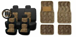 New Brown Cheetah Mesh 15pc Full Set Car Seat Covers And Floor Mats