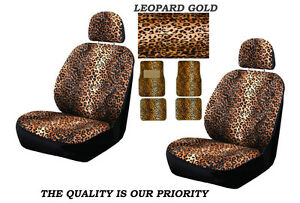 8pc Set Premium Gold Leopard Front Seat Covers Floor Mats