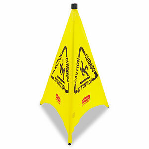 Rubbermaid Commercial Three sided Caution Wet Floor Safety Cone 21w X 21d X 30h