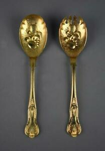 Pair Of Sheffield England Rose Gold Plated Repousse Serving Spoons