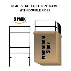 5pack Slide in Real Estate Yard Sign Metal Frame With Dual Rider 24 x17 5