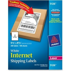 Avery White Shipping Labels With Trueblock 5 5 X 8 5 Box Of 200