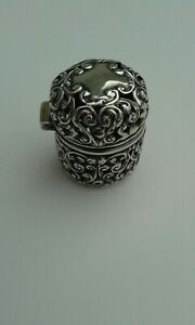Antique Unger Brothers Victorian Style Sterling Silver Thimble Holder Case
