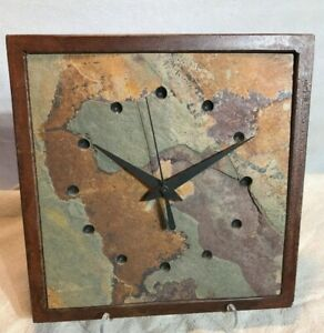 Vtg Slate Rock Wall Clock With Rusted Steel Frame Works Great Stone Mid Century