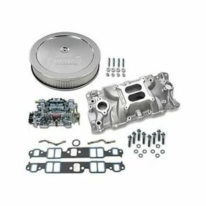 Sbc Chevy 350 Edelbrock 2701 Intake W Gaskets 600cfm 1406 Air Cleaner Combo