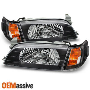 Fits 93 97 Corolla Black jdm Version Headlights Amber Corner Signal Lamps