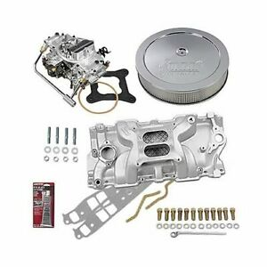 Sbc Chevy 350 Stage 2 Intake Manifold 750 Cfm Carb Air Cleaner Combo