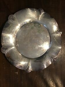 W M Rogers 11 1 2 Scalloped Edge Silver Plate Platter Charger 421