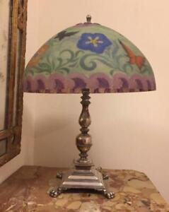 Pairpoint Table Lamp W Reverse Painted Glass Shade Butterflies