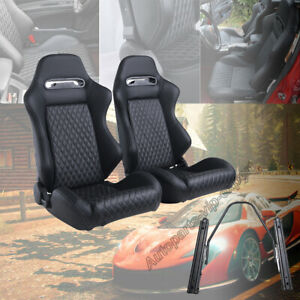 Universal 2pcs Car Racing Seats W 2 Sliders Leather Durable Recline Seats Black