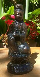 Antique Chinese Bronze Statue 18th C Qing Kangxi Guanyin Buddha Signed