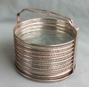 8 Webster Sterling Silver Glass Coasters With Holder Caddy