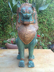Antique Chinese Bronze Statue Qing Buddha Imperial Temple Guardian Shishi Lion