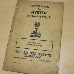 Hyster Cat D2 Crawler Tractor Winch Parts Owner Operator Maintenance Manual Book