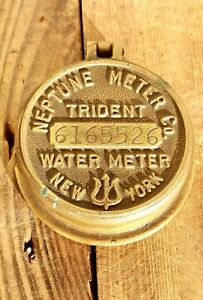 Vintage Antique Steampunk Neptune New York Trident Water Meter Brass Industrial