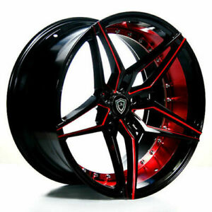 4 20 Marquee Wheels M3259 Black Red Inner Rims b10