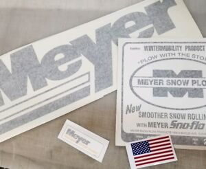 3 Meyer Snow Plow Decals 1 Large Rear Blade Old Style 1 Front Meyer 1frame Mos8