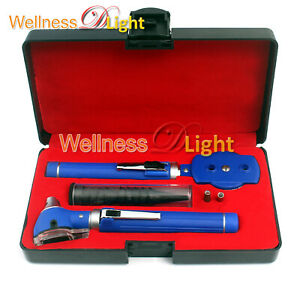 Diagnostic Otoscope Ophthalmoscope Combine Blue Kit Led Lamp Specula Case