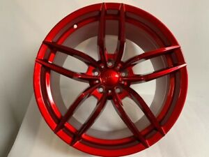 20 Staggered Candy Red V Style Wheels For Bmw 5 Series 2011 528xi 535xi