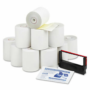 Iconex Impact Printing Carbonless Paper Rolls 3 X 90 Ft White canary 10 pack