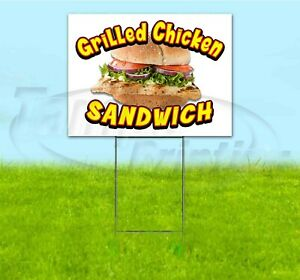 Grilled Chicken Sandwich 18x24 Yard Sign With Stake Corrugated Bandit Usa Food