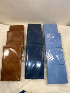 Lot Of 9 Leather Planner W Bonus Lined Writing Pad Notebook Holder 3 Colors