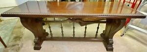 Large Antique American Carved Mahogany Dining Hallway Trestle Console Table