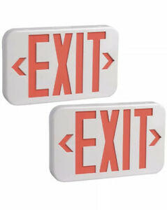 Exit Led Sign Emergency Lights With Battery Backup Led Pack Of 2 Rechargeable