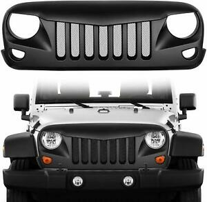 Front Grill Hood Mesh Insert Cover Grille Guard For Jeep Wrangler Jk 2007 2018