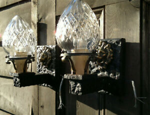 Pair Arts Crafts Gothic Wall Sconces Hall Porch Lights Cut Crystal Glass C1910