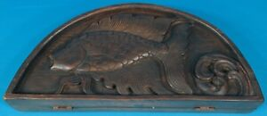 Rare Antique Chinese Opium Scales W Engraved Fish Wood Case