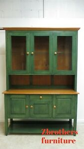 Ethan Allen Country Color China Cabinet Hutch Breakfront Display Cupboard Green