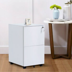 Office Home Lcok Metal File Cabinet W 2 Drawers Rolling Small Cabinet White