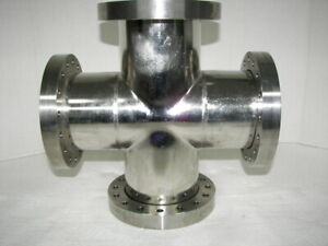 Huntington High Vacuum Research Chamber 4 way Stainless 6 Flange