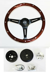 60 69 Chevrolet Pick Up Steering Wheel Dark Mahogany Wood Black 15 With Bowtie