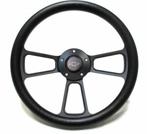 1969 1972 Chevelle Black Steering Wheel Black Powder Coat Full Kit
