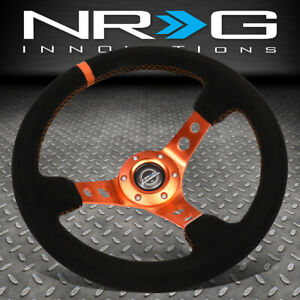 Nrg Innovations Rst 006s Or 350mm 3 Deep Dish Suede Orange Stitch Steering Wheel