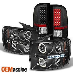 Led Upgrade For 07 13 Chevy Silverado Halo Projector Headlights Tail Lights