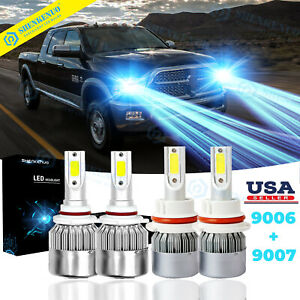 Ice Blue Combo 9007 Led Headlights 9006 Fog For Dodge Ram 1500 2500 3500 2002 05