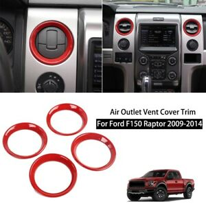 Red Interior Air Vent Outlet Frame Cover Trim Ring For Ford F150 2009 2014 4pcs